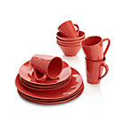 Marin Orange 16-Piece Dinnerware Set: four 4-piece place settings.