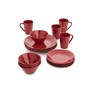 Marin Red 16-Piece Dinnerware Set