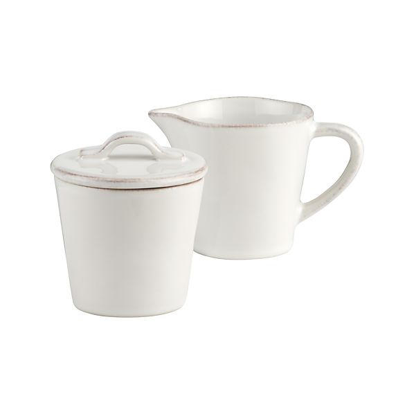 Marin White Sugar Bowl with Lid and Creamer