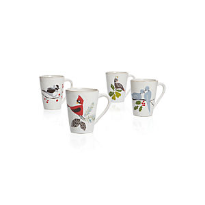 Set of 4 Marin Winter Birds Mugs