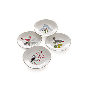 Set of 4 Marin Winter Birds Salad Plates