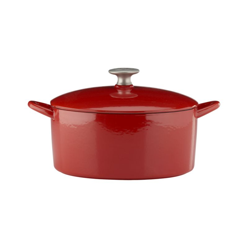 "Our ""Italian Cooking Essentials"" collection from famed chef and restaurateur Mario Batali expands with a Dutch Oven in red. Each enameled cast iron piece ensures exceptional heat retention and even heating without hot spots. Designed for low-heat cooking, stewing and braising. Close-fitting lid with stainless knob has spikes on the interior for continuous, natural basting (see additional photos). Clean in the dishwasher, with Bar Keepers Friend or baking soda as described below.<br /><br /><NEWTAG/><ul><li>Cast iron with enamel coating</li><li>Cast stainless steel knob</li><li>Especially suited for low-heat cooking</li><li>For stovetop and oven use to 475 degrees</li><li>For use with traditional gas and electric, or ceramic (up to medium heat only) and induction cooktops</li><li>Dishwasher-safe; clean with Bar Keepers Friend; or for stains and more thorough cleanin"