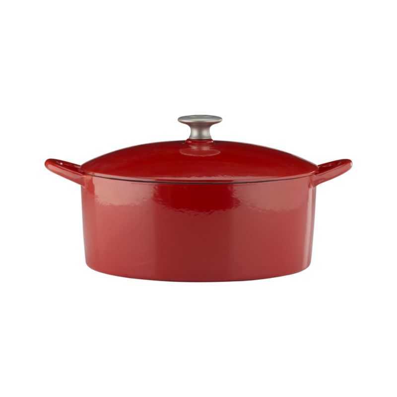 "Our ""Italian Cooking Essentials"" collection from famed chef and restaurateur Mario Batali expands with a Dutch Oven in red. Each enameled cast iron piece ensures exceptional heat retention and even heating without hot spots. Designed for low-heat cooking, stewing and braising. Close-fitting lid with stainless knob has spikes on the interior for continuous, natural basting (see additional photos). Clean in the dishwasher, with Bar Keepers Friend or baking soda as described below.<br /><br /><NEWTAG/><ul><li>Cast iron with enamel coating</li><li>Cast stainless steel knob</li><li>Especially suited for low-heat cooking</li><li>For stovetop and oven use to 475 degrees</li><li>For use with traditional gas and electric, or ceramic (up to medium heat only) and induction cooktops</li><li>Dishwasher-safe; clean with Bar Keepers Friend; or for stains and more thorough cleaning: pour ½ cup of baking soda into a small bowl. Gradually add small amounts of water to the baking soda, mixing until a paste is formed. Apply the paste to the enamel cast iron cookware and allow to soak for one hour. Use a cellulose sponge to gently scrub the stain from the cookware.</li><li>Made in China</li></ul><br />"