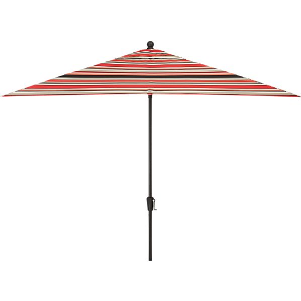 Rectangular Sunbrella® Red Multi Stripe Umbrella with Black Frame