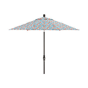 9' Round Poppy Scroll Umbrella with Tilt Black Frame