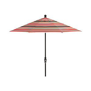 9' Round Sunbrella ® Red Multi Stripe Umbrella with Tilt Black Frame