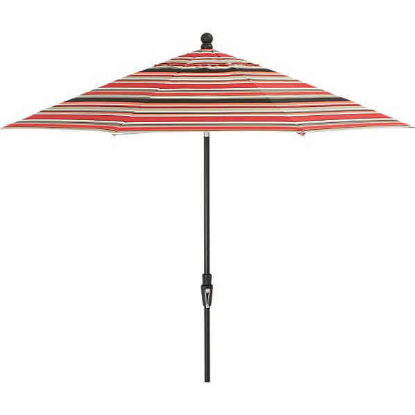 9' Round Sunbrella® Red Multi Stripe Umbrella with Tilt Black Frame