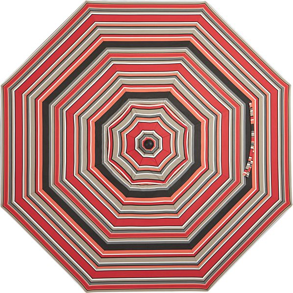 9' Round Sunbrella ® Red Multi Stripe Umbrella Cover