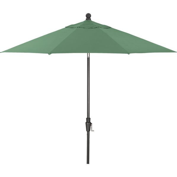 9' Round Sunbrella® Bottle Green Umbrella with Tilt Black Frame