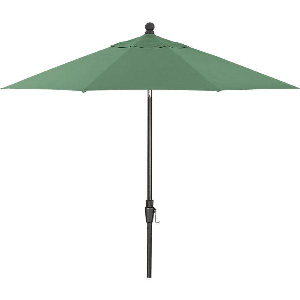 9' Round Sunbrella ® Bottle Green Umbrella with Tilt Black Frame