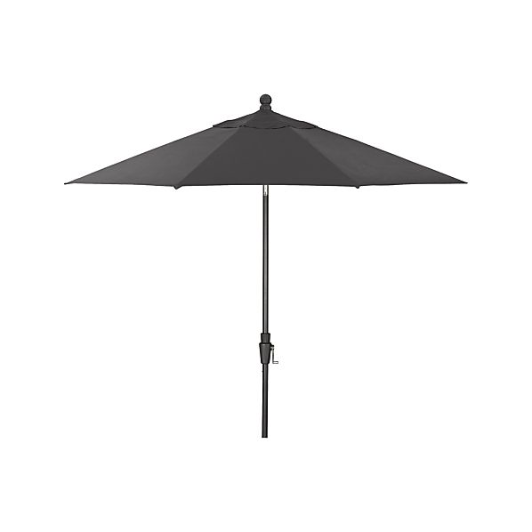 9' Round Sunbrella® Charcoal Umbrella with Tilt Black Frame