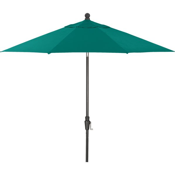 9' Round Sunbrella® Harbor Blue Umbrella with Black Frame