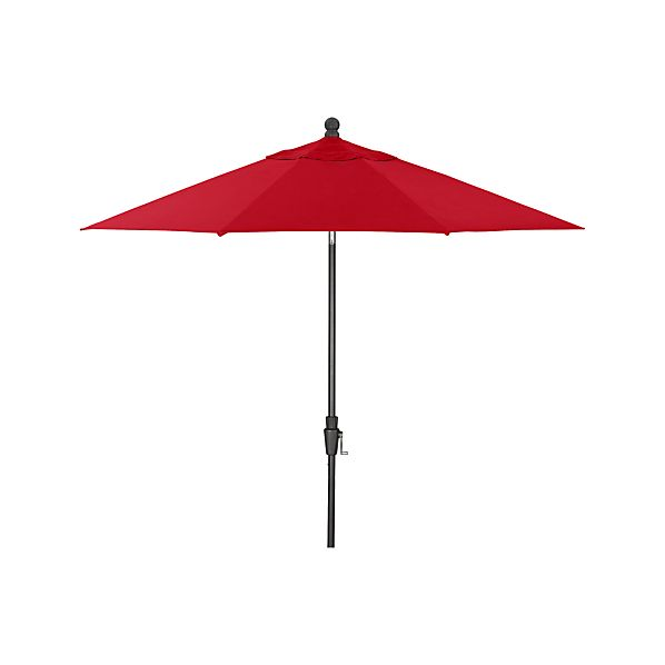 9' Round Sunbrella® Ribbon Red Umbrella with Tilt Black Frame