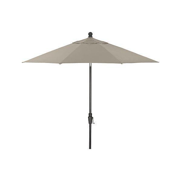 9' Round Sunbrella® Stone Umbrella with Tilt Black Frame