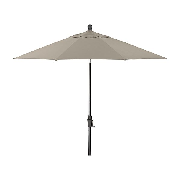 9' Round Sunbrella ® Stone Patio Umbrella with Tilt Black Frame