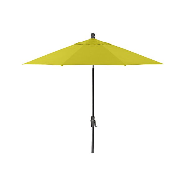 9' Round Sunbrella® Sulfur Umbrella with Tilt Black Frame