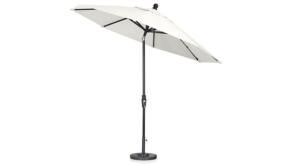 9' Round Sunbrella ® White Sand Patio Umbrella with Tilt Black Frame