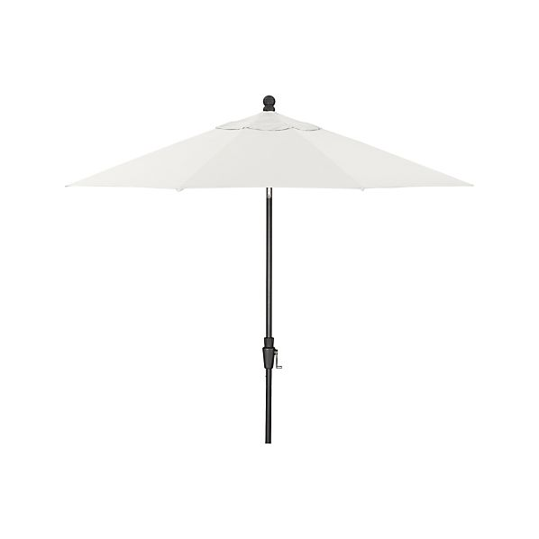 9' Round Sunbrella ® White Sand Umbrella with Tilt Black Frame