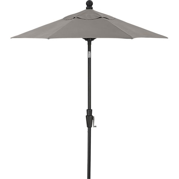 6' Round Sunbrella ® Graphite High Dining Umbrella with Black Frame