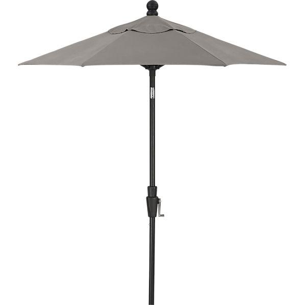 6' Round Sunbrella ® Graphite High Dining Umbrella with Black Frame