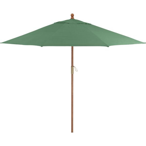 9' Round Sunbrella® Bottle Green Umbrella with FSC Eucalyptus Frame