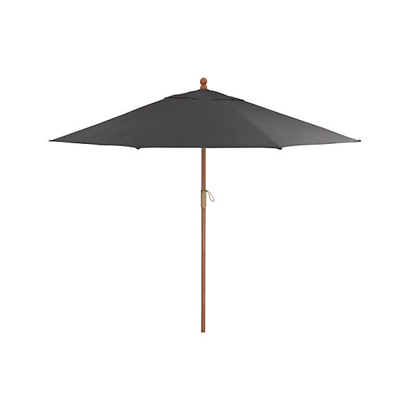 9' Round Sunbrella® Charcoal Umbrella with Eucalyptus Frame