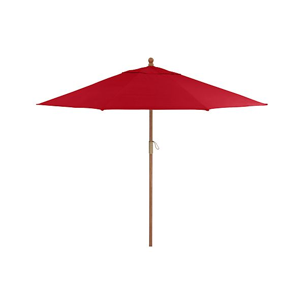 9' Round Sunbrella® Ribbon Red Umbrella with FSC Eucalyptus Frame