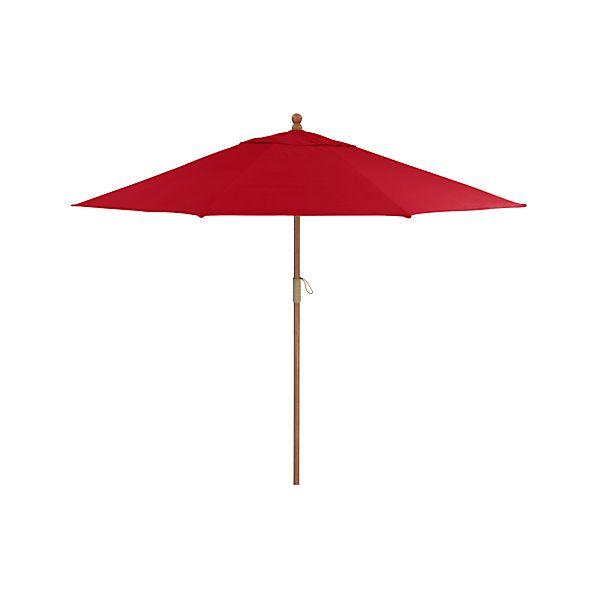 9' Round Sunbrella ® Ribbon Red Umbrella with FSC Eucalyptus Frame