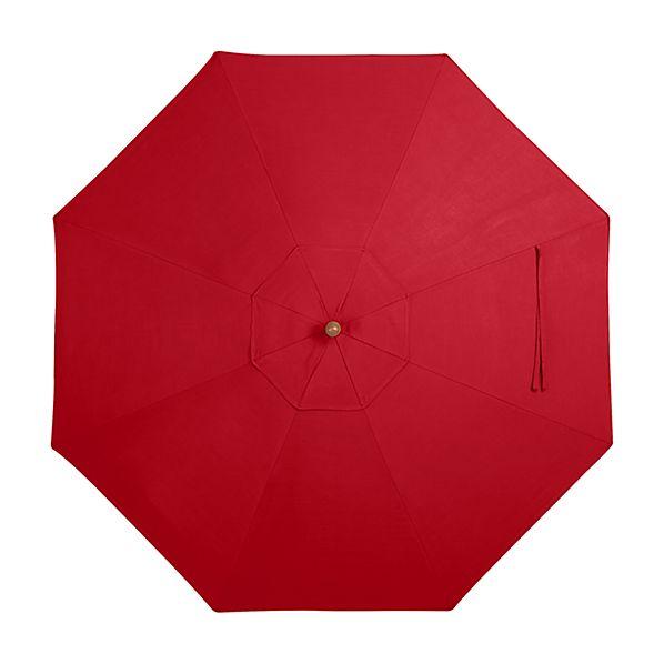 9' Round Sunbrella ® Ribbon Red Umbrella Canopy