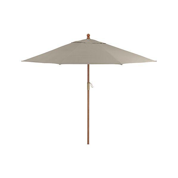 9' Round Sunbrella ® Stone Umbrella with FSC Eucalyptus Frame