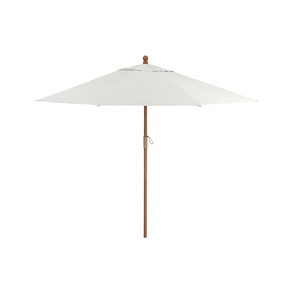 9' Round Sunbrella® White Sand Umbrella with FSC Eucalyptus Frame