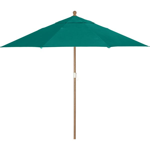 9' Round Sunbrella® Harbor Blue Umbrella with Eucalyptus Frame