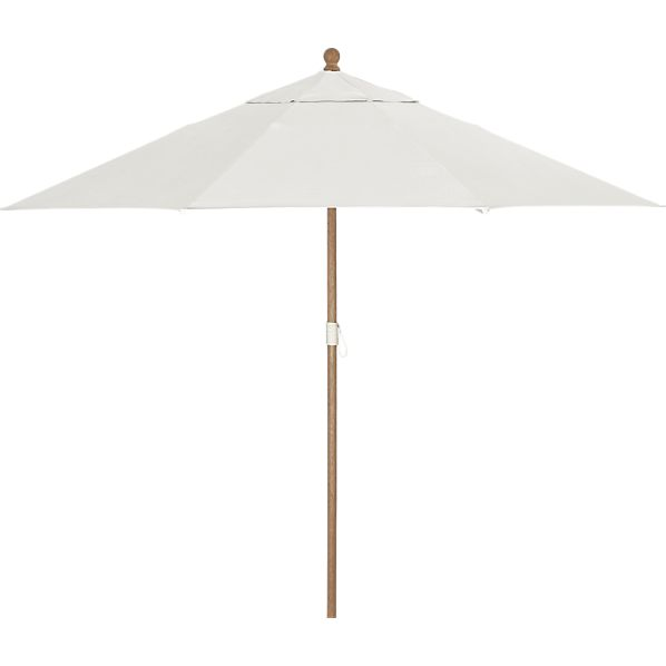 9' Round Sunbrella® White Sand Umbrella with Eucalyptus Frame