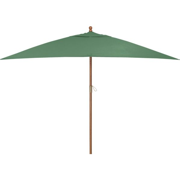 Rectangular Sunbrella® Bottle Green Umbrella with Eucalyptus Frame