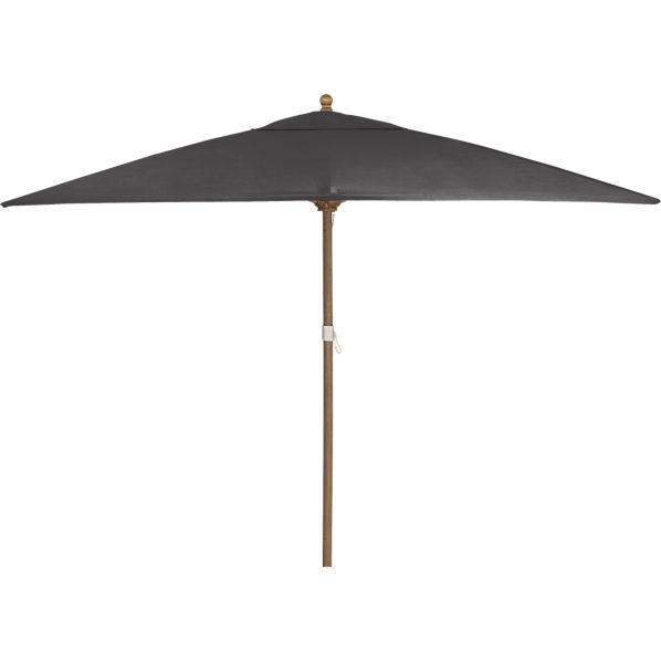 Rectangular Sunbrella ® Charcoal Umbrella with Eucalyptus Frame