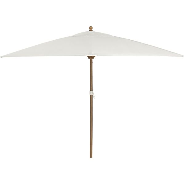 Rectangular Sunbrella® White Sand Umbrella with Eucalyptus Frame