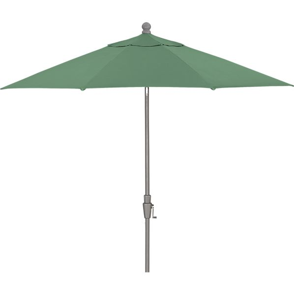 9' Round Sunbrella® Bottle Green Umbrella with Tilt Silver Frame