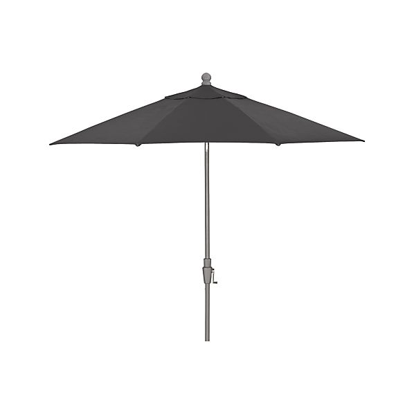 9' Round Sunbrella ® Charcoal Umbrella with Tilt Silver Frame