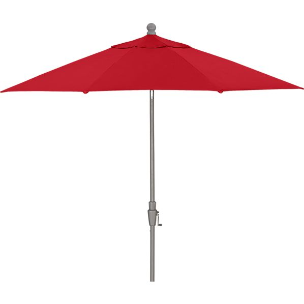 9' Round Sunbrella® Chili Pepper Umbrella with Silver Frame