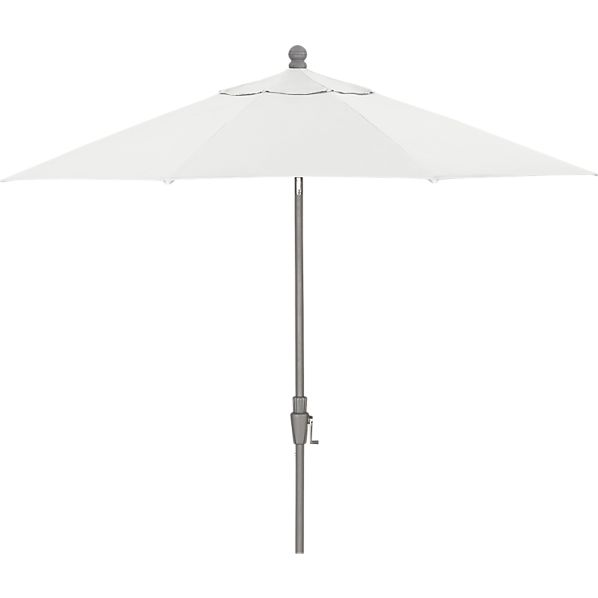 9' Round Sunbrella® Eggshell Umbrella with Silver Frame