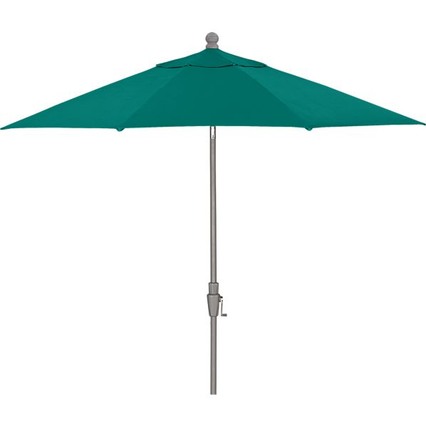 9' Round Sunbrella® Harbor Blue Umbrella with Silver Frame
