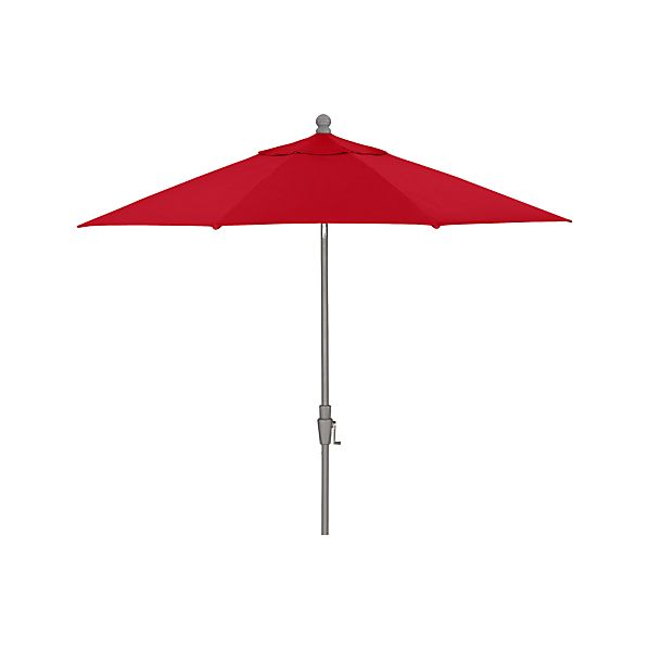 9' Round Sunbrella® Ribbon Red Umbrella with Tilt Silver Frame