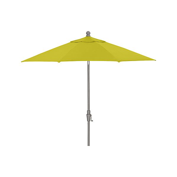 9' Round Sunbrella ® Sulfur Umbrella with Tilt Silver Frame