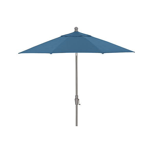 9' Round Sunbrella ® Turkish Tile Umbrella with Tilt Silver Frame