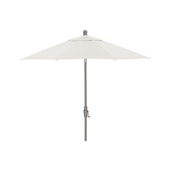 9' Round Sunbrella® White Sand Umbrella with Tilt Silver Frame