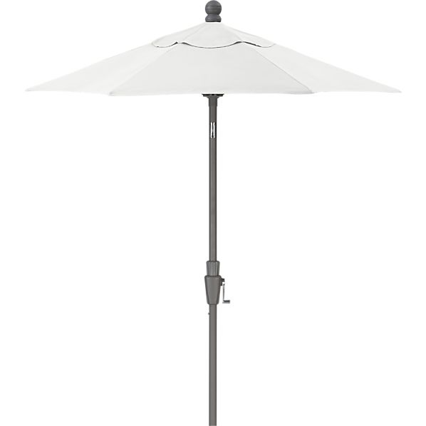 6' Round Sunbrella ® Eggshell High Dining Umbrella with Silver Frame
