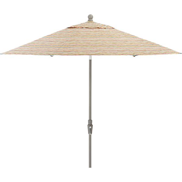 9' Round Handpainted Stripe Umbrella with Tilt Silver Frame