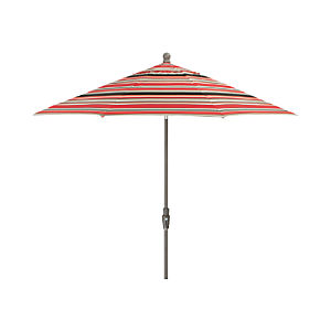 9' Round Sunbrella ® Red Multi Stripe Umbrella with Tilt Silver Frame