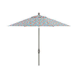 9' Round Poppy Scroll Umbrella with Tilt Silver Frame