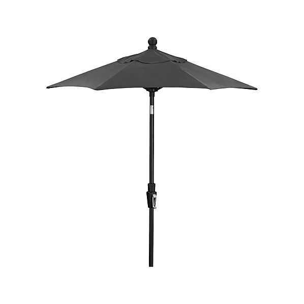 6' Round Sunbrella ® Charcoal Umbrella with Tilt Black Frame